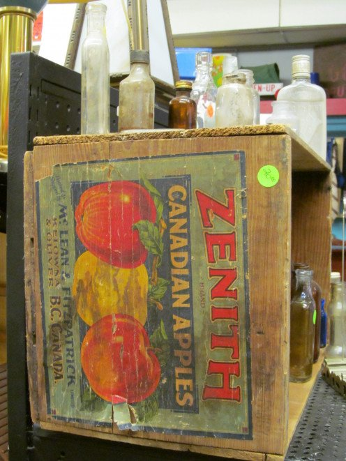 medicine bottles and an old Zenith Apple box