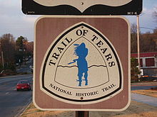 Sign for the Trail of Tears National Historic Trail