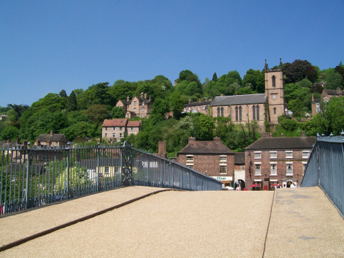 On the Ironbridge, looking towards the Tontine Hotel, a famous Ironbridge hotel