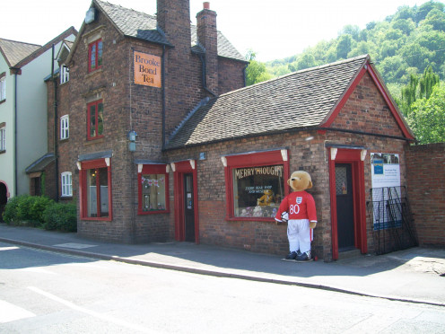 Life-size Merrythought Bear outside the Merrythought shop in Ironbridge dressed in the England Football Team kit during the 2010 World Cup