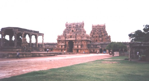 A view of the gate towers (gopuram) from inside the compound