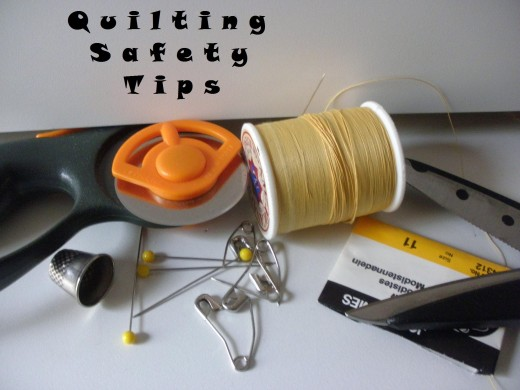 Sharp rotary cutter, needles, pins and open scissors are all dangers that lurk in the sewing room.  Follow these safety tips to avoid the most common mishaps.
