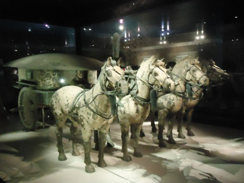 Horses and Chariot, part of the Terracotta Army, available to be viewed up close