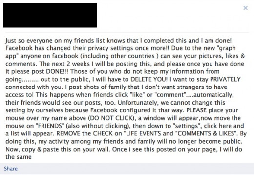 Recent Facebook Hoax - Facebook Graph Search Privacy Settings.