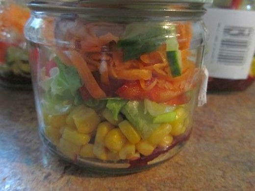 Finished salad in a jar.