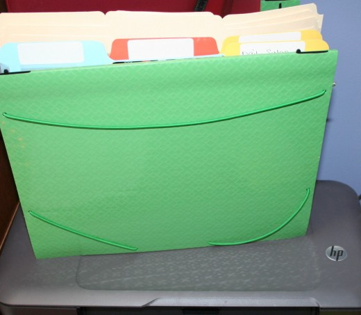 Desk top accordion file at my finger tips.  I keep this near my printer on my desk to file sale detail sheets until I log them into excel and file them in my filing cabinet.