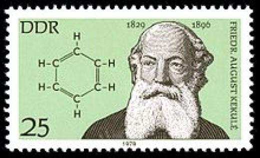 Kekule and his lucid dream of the benzene molecule.