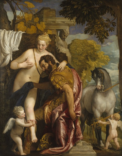 "Paolo Veronese's ""Mars and Venus United by Love"" from the mid-1570s shows Cupid as an infant in the lower left corner. It is currently at the Metropolitan Museum of Art in New York."