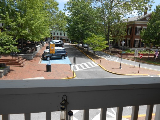 The view of Dahlonega square from our perch on the porch!