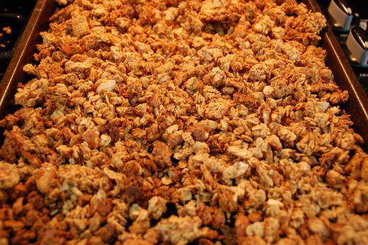 Granola baking in the oven