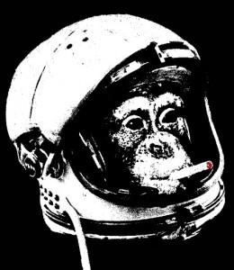monkey astronaut smoking cigarette