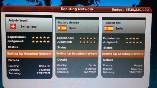you should always try to have the best scouting network possible if you are in spain you will mostly get spanish scouts its good to have varied scouts After the year 2022 you will only need scouts to help you as your young players will turn old.