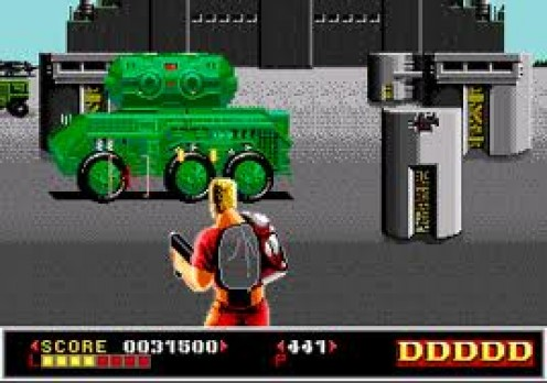 Dynamite Duke was made by Sega and produced for the Sega master system as well as the arcade. It is played in the first person point of view.