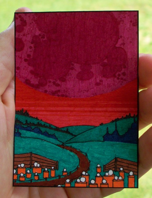 surreal space mars landscape giant moon aceo art card sold for about $2