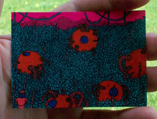 surreal landscape alien pods aceo atc trading card sold for about $1.25