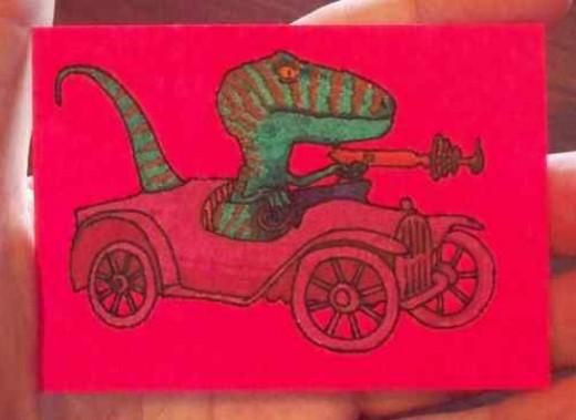 surreal crazy retro pop art laser raptor in vintage car sold for $1.05