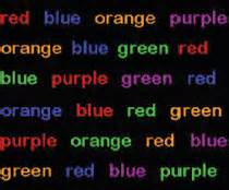 Take the Stroop test. Try to say the color, not read the word.