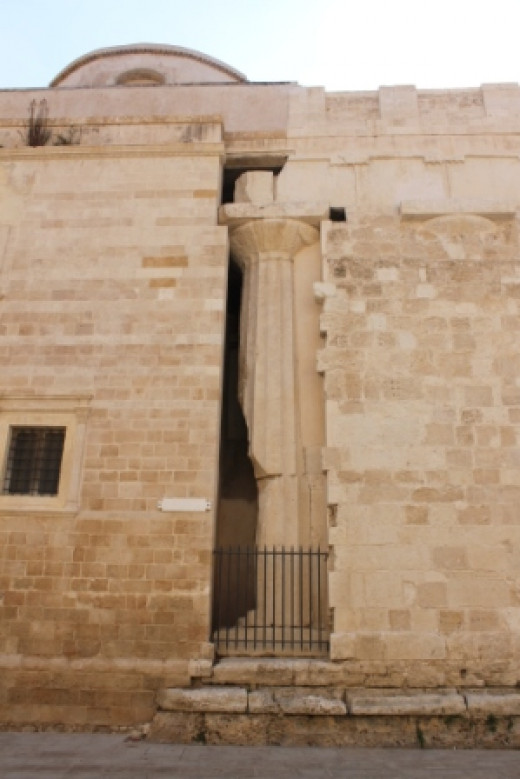 Original columns of the ancient building incorporated into the cathedral walls.