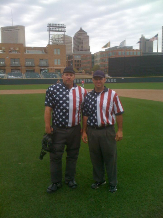 My friends LARRY and JAY umpiring a little league game in Huntington Park (Home of the Columbus Clippers AAA team)