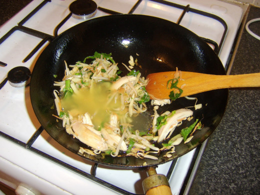 Peking lemon sauce is added to stir fry