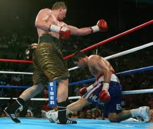 Vassilly Jirov was a Cruiserweight champion but he also boxed as a heavyweight. Jirov is seen here knocking down heavyweight Joe Mesi.