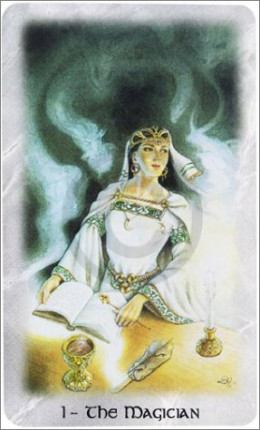 The Celtic Dragon Tarot by D.J. Conway (Author), Lisa Hunt (Artist). This Tarot Card is The Magician