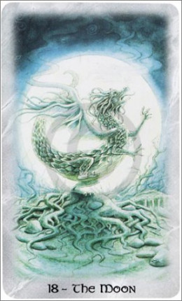 The Celtic Dragon Tarot by D.J. Conway (Author), Lisa Hunt (Artist). This Tarot Card is The Moon