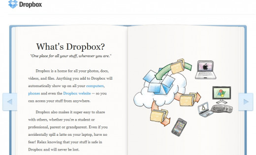 Screen shot of DropBox website