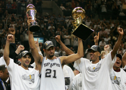The Spurs celebrated an NBA title in 2007 against the Detroit Pistons. This series went 7 games.