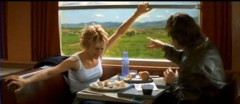 Meg Ryan displays the symptoms of lactose intolerance in the 1995 movie French Kiss.