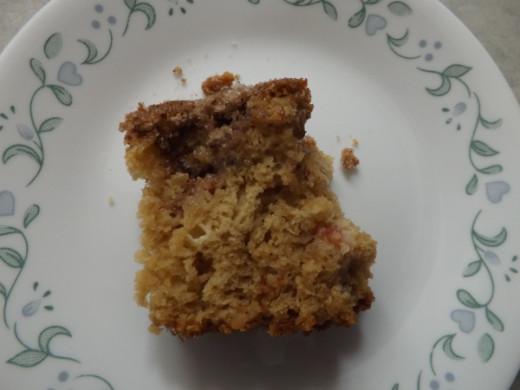 Cut a slice of warm Rhubarb Cake and Enjoy!