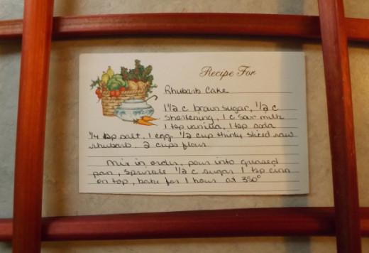Original Rhubarb Cake Recipe Card