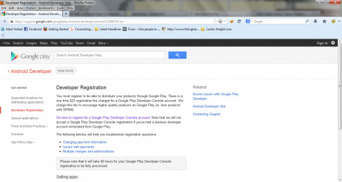 The Google Play Store Developer Registration Page.