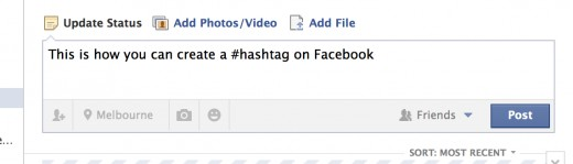 Creating a hashtag on Facebook