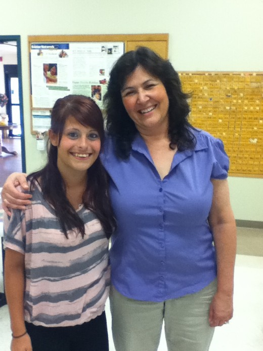 Me and one of my student volunteers in the high  school Career Center.