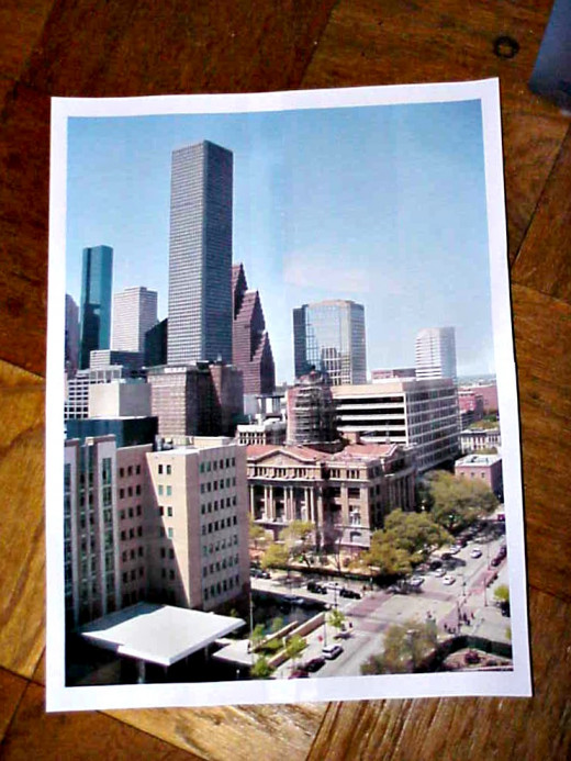 Here is the poster made from the little snapshot. The final size of the poster is approximately 2 square feet. A single-piece printout that size would cost about $15 at the commercial copy shops