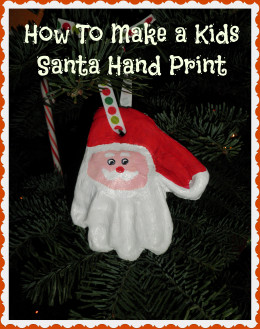 White lettering against a dark background makes this photo stand out. Made for my hub on :How to Make a Santa Claus from a Kids Hand-Print. I expect this to get a lot of pins around Christmas time.