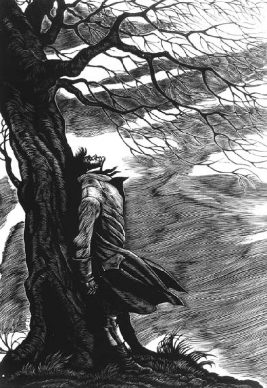 Like all good lovers, Heathcliff knows how to suffer for love. Cover Image from Wuthering Heights, 1943  by Fritz Eichenberg