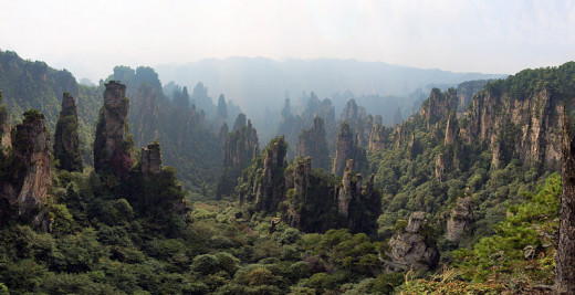 Panoramic view from Mount Tianzishan wulingyuan Zhangjiajie Forest Park, Hunan, China