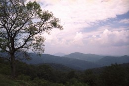 Thunderstorm forming over the hills of Shenandoah National Park in Virginia.