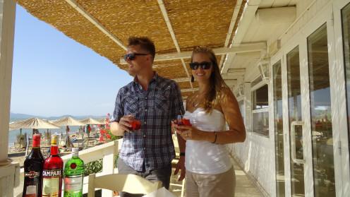 Restaurant veranda of Il Tramonto beach club, La Giannella, Maremma
