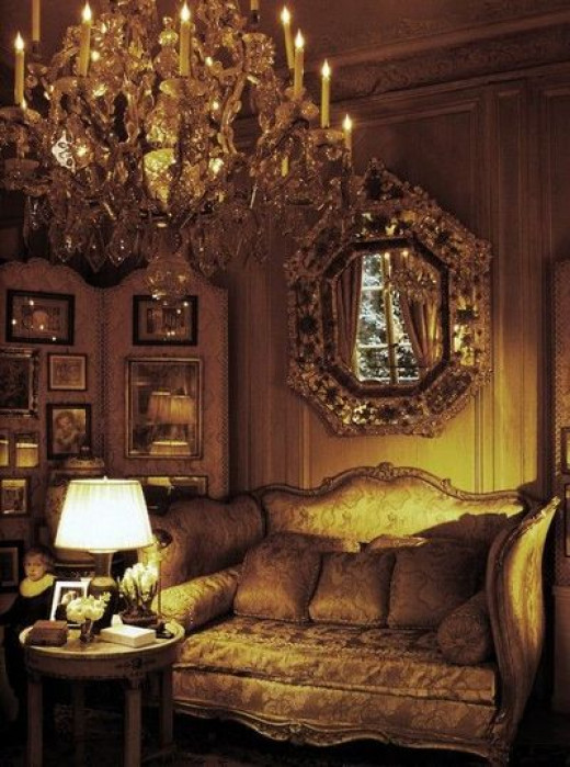Decadent means chandeliers, mirrors, and sumptous antique settees upholstered in silks.