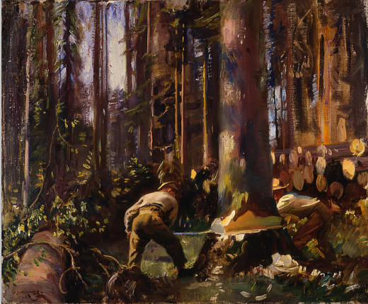 Felling a Tree in the Vosges, AJ Munnings.  From the Beaverbrook Collection of War Art