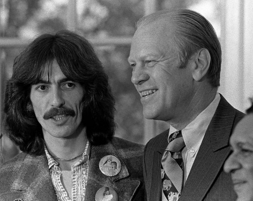 George Harrison, President Gerald Ford and Ravi Shankar