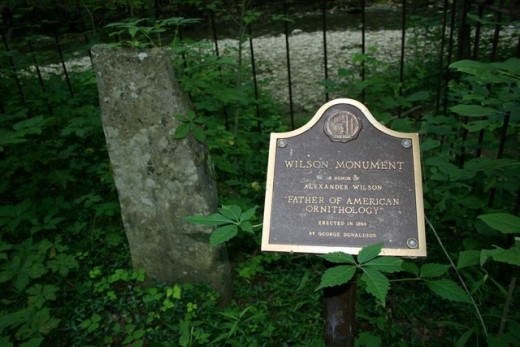 The Alexander Wilson Monument along Trail 4 in Spring Mill State Park