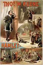 A poster, ca. 1884, for an American production of Hamlet (starring Thomas W. Keene), showing several of the key scenes