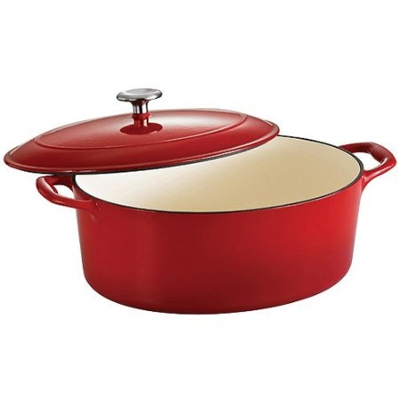 This Oval, 7 quart size from Tramontina is popular for roasting cuts of meat and making large casseroles. Note the self basting ridges on the lid.