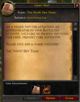 When you attach an authenticator to your WoW account, Blizzard is nice enough to send you a new pet!