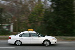 Student drivers practice in a Ford Taurus instructed vehicle in Durham, North Carolina.