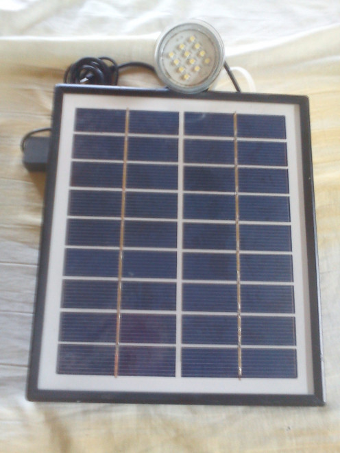 This  solar panel the size of a piece of notebook paper can charge a battery in 8 hours to run three of these lights up to 8 hours